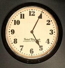 Vintage 1930's Postal Telegraph Wall Clock - Quartz Movement Converted