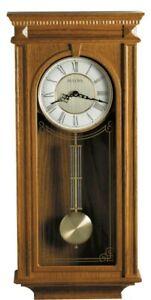 Bulova Oak Finish Wooden Westminster Chime Wall Clock, Pendulum Manorcourt C4419
