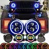 7'' RGB Halo Headlights+Fog+Reverse Taillight Combo Kit For Jeep Wrangler JK JKU