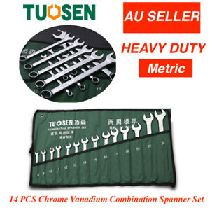 14PCS  Spanner Set Metric  Combination Open  Box Wrench+Roll bag 8-24mm