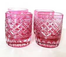 Light Cranberry Cut To Clear Bohemian Glasses S/4