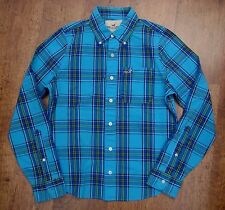 "HOLLISTER Turquoise Blue Check/Plaid Long Sleeve Shirt (S) Small 21"" Pit to Pit"