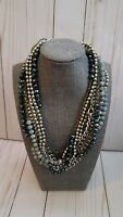 Cookie Lee multi strand silvertone and beaded necklace costume fashion jewelry