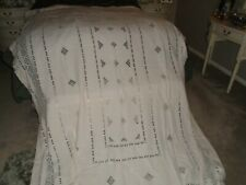 Huge Natural Linen Banqueting Tablecloth With Open Cut Work