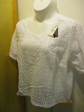 Lane Bryant Womans Blouse Shirt Short Sleeve White 26 / 28  NWT Cotton Blend
