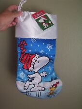 Peanuts Snoopy & Woodstock Christmas Stocking Satin NEW on The Ice