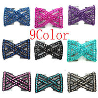 Women's Magic Slide Hair Elastic Double Beads Easy Stretchy Hair Comb Clips Pins