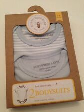 Burts Bees Organic Baby Boys 2 Bodysuits Set Size 3-6 Months Layette Blue Stripe