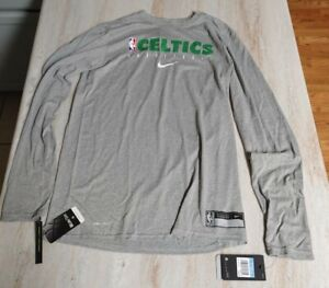 NBA Nike Boston Celtics Long Sleeve Shirt Mens Medium Tall Gray CD2660-063