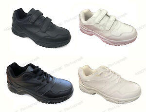 New Men's Sneakers Leather Comfort Hook and Loop Cushion Sole Walking Lace Up