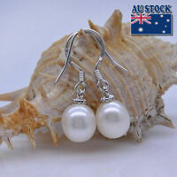 Fashion 925 Sterling Silver 9mm Freshwater Pearl Drop Earrings - White