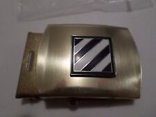 U.S ARMY 3RD INFANTRY DIVISION ON A SOLID BRASS BELT BUCKLE MADE IN THE U.S.A