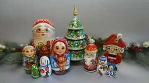 Two sets of Christmas dolls: Santa with friends 5 seats and Christmas tree + Nut