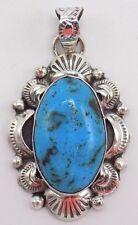 Navajo Handmade Kingman Turquiose Pendant Set In Sterling Silver-Gilbert Tom