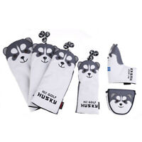 Lovely Husky Golf Driver Woods Head Covers Cartoon Animal Fairway PU Lea