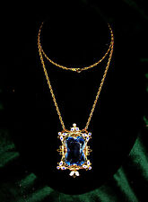 Art Deco Czech Aqua Blue Glass Crystal Enamel Frame Pendant Gold Filled Necklace