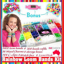 New 600+ Rainbow Loom Bands Kit Charms Bracelet Set Storage Case Box Organiser