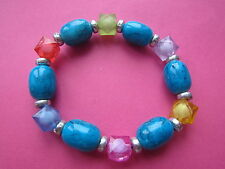 Rainbow & Teal Tones Plastic Bead Elasticated Bracelet New Stocking FIller