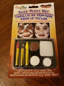 NEW Face Paint Kit Multi Color 2 Cakes & 3 Crayons Painting with Sponge & Towel