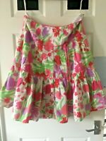 """the most  BEAUTIFUL MONSOON  SILK SKIRT SIZE 16 Large Uk 35"""" waist floral white"""