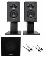 """Samson M30 3"""" Podcasting Podcast Recording Monitors w/Bluetooth+Stands+Subwoofer"""
