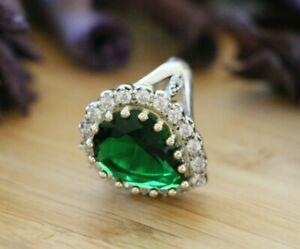Hurrem Sultan Turkish Style Women's Rings, 925 Sterling Silver & Green Zirconia