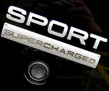 SUPERCHARGED & SPORT tailgate badge for Range Rover in SILVER 4.4 V8 HST logo