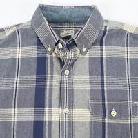 J CREW Tailored Plaid Shirt Mens size SMALL Blue Ivory Prep