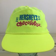 HERSHEYS CHOCOLATESE - Vtg 90s Neon Yellow SnapBack Chocolate Hat Cap
