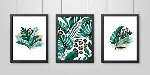 Set of 3 Modern Wall Art Prints Living Room Bedroom Botanical Posters UNFRAMED