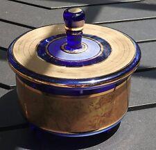 BOHEMIAN CZECH COBALT BLUE AND GOLD VINTAGE RARE CANDY DISH