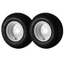 2 Pack - 20.5X8.00-10 Loadstar Trailer Tire LRE on 5 Bolt White Wheel