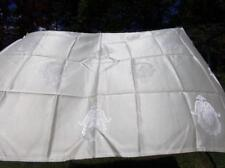 "Vintage Tablecloth With Floral Prints  Cream on Cream Color 52"" x 62"""