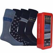 Calvin Klein Jeans 4-Pack Multi Logo Men's Socks Gift Tin, Navy/Blue One Size