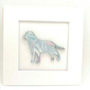 Painting of dog retriever Labrador puppy mounted 3d unique unusual gift pastel