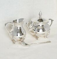 Vintage Newport Style Silver Plated EPNS Sugar Bowl with Spoon and Creamer