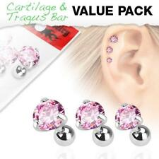 316L Surgical Steel Tragus/Cartilage Stud with Round Pink Jewel 3 Piece Pack