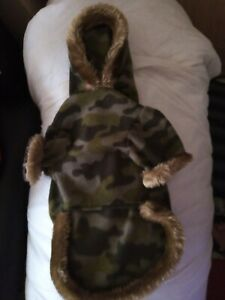 DOG CAMOUFLAGE HOODIE WITH FAUX FUR TRIM
