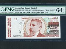 Argentina:P-336,100000 Australes,1990-1 * J. Uriburu * PMG ch. UNC 64 EPQ *