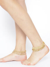 Tone Pearl Belly Dance Foot Jewelry Indian Bollywood Anklet Payal Fashion Gold