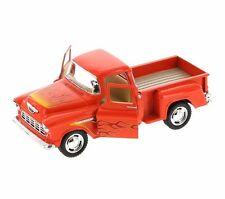 Kinsmart 1955 Chevrolet Stepside Pickup w/ Flames 1:32 Diecast Toy Truck Orange