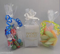 """100 x Clear Cellophane Sweet Candy Gift Display Bags with gusset 9"""" x 3"""" x 2"""""""