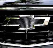 2 CARBON FIBER Chevy Bowtie Emblem Overlay Sheets Front/Back Vinyl Decal Wrap