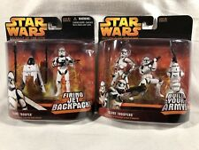 2 Star Wars RotS Deluxe figures - Firing Jet Backpack & Clone Trooper 3-pack