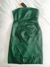 Karen Millen Emerald Green Satin  pencil cocktail dinner party dress 12