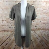 J. Jill PureJill Womens Short Sleeve Brown Hooded Cardigan Sweater Size Large