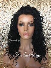 Lace Front Wig Curly Wavy Layered Medium Length Off Black #1b Heat Safe Ok
