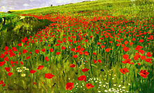 Meadow with Poppies A2 by Pal Szinyei Merse High Quality Canvas Print
