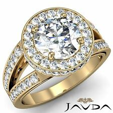 Round Diamond Engagement GIA I VS2 18k Yellow Gold Split Shank Halo Ring 2.26ct