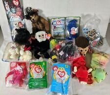 Lot of 19 Ty Beanie Babies Stuff Animal Rare Error PVC Snort Monkey Sammy Bear